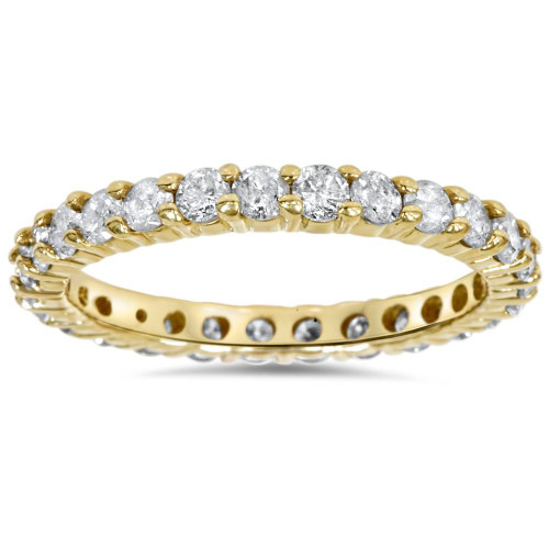 1 1/2ct Prong Diamond Eternity Ring 14K Yellow Gold (G/H, SI)