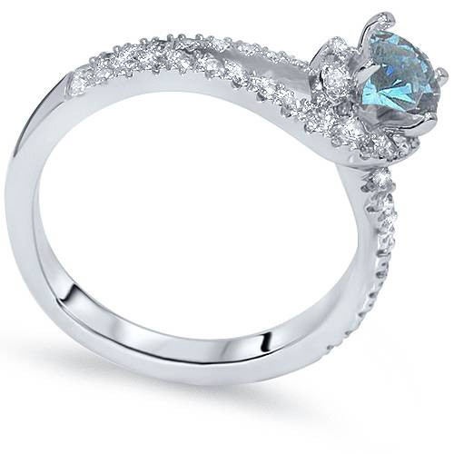 1ct Blue Diamond Twist Engagement Ring 14K White Gold (G/H, I1-I2)