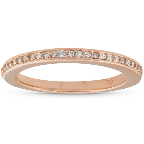 1/10ct Pave Diamond Wedding Ring 14K Rose Gold (I/J, I2-I3)