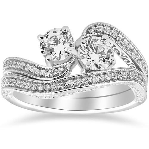 1 1/2ct Two Stone Forever Us Vintage Diamond Engagement Wedding Ring Set 14k Whi (H/I, I1-I2)