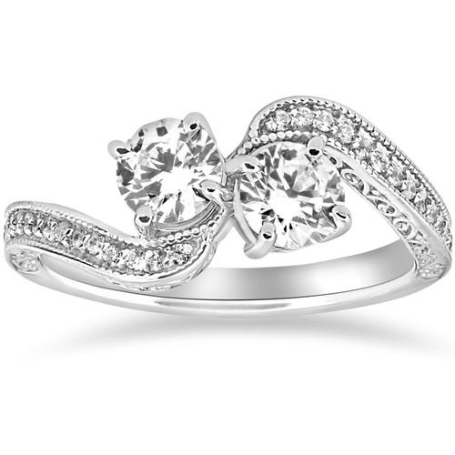 1 ct Two Stone Forever Us Vintage Diamond Engagement Ring 14k White Gold (H/I, SI2-I1)