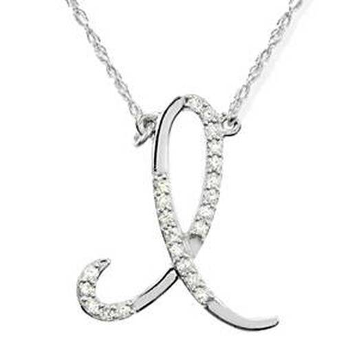 "1/4ct Diamond ""I"" Initial Pendant 18"" Necklace 14K White Gold (G/H, I2)"
