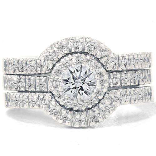 1 1/10ct Round Diamond Engagement Matching Wedding Ring Set White Gold 14K (I-J, I2)