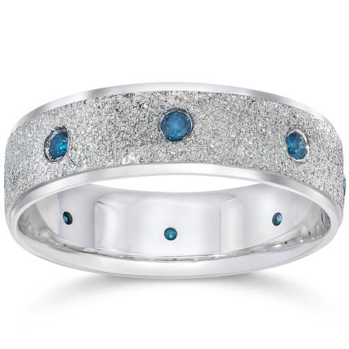 Mens 14K White Blue Diamond 1/3ct Stone Finish Wedding (Blue, I1)