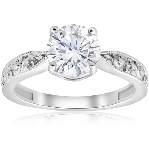 1 1/2ct Solitaire Vintage Diamond Engagement Ring 14K White Gold (G/H, SI2-I1)