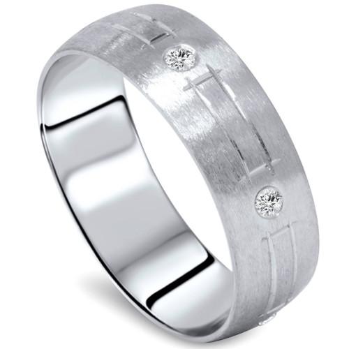 Mens 14K White Gold Diamond Swiss Cut Wedding Band (G/H, SI)