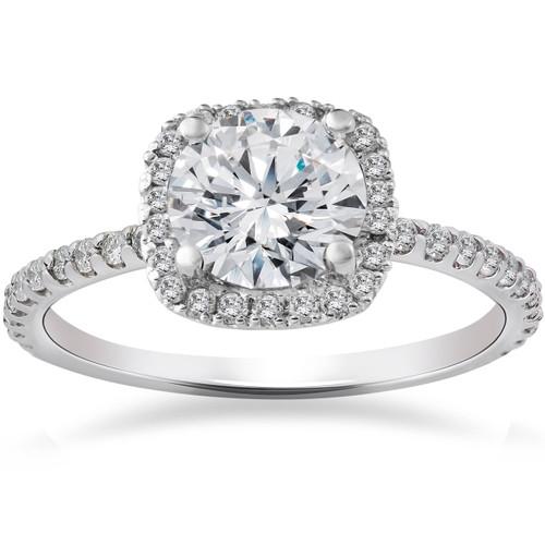 2 1/2ct Round Diamond Cushion Halo Engagement Ring 14K White Gold ((G-H), (I1))