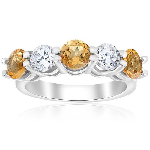 2 1/2ct Citrine & Diamond 5-Stone Ring 14K White Gold (I-J, I1-I2)
