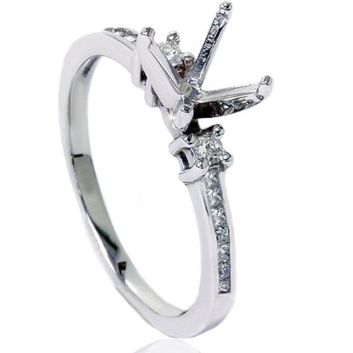 1/2ct Princess Cut Diamond Ring Mounting 14K White Gold (H/I, I2-I3)