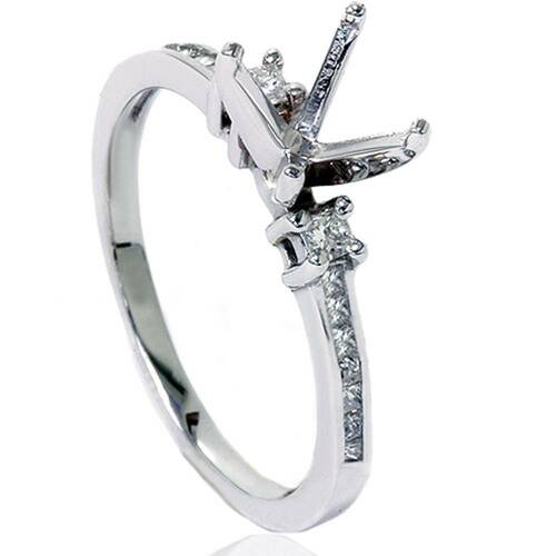 1/2ct Princess Cut Diamond Ring Mounting 14K White Gold (H/I, I2-I3)