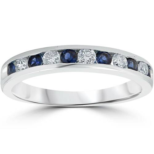 3/4ct Blue Sapphire & Diamond Channel Set Ring 14K White Gold (G/H, I1)