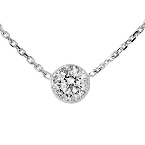 "1/3ct Round Brilliant Cut Diamond Bezel Solitaire Pendant 14K White Gold 18"" (H-I, VVS)"