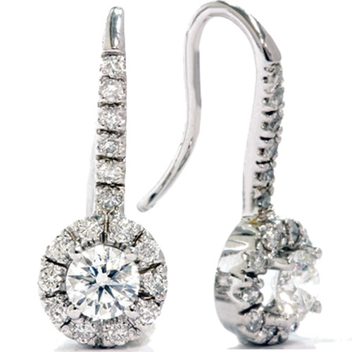 1 1/20ct Pave Halo Diamond Earrings 14K White Gold (G/H, VS)