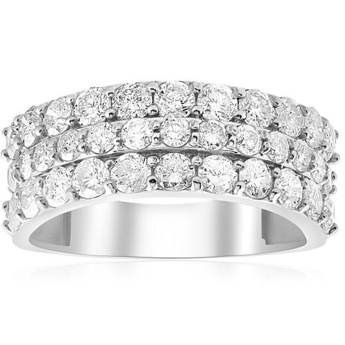 1 3/4ct Diamond Wedding Triple Row Ring 14K White Gold (H-I, I1)