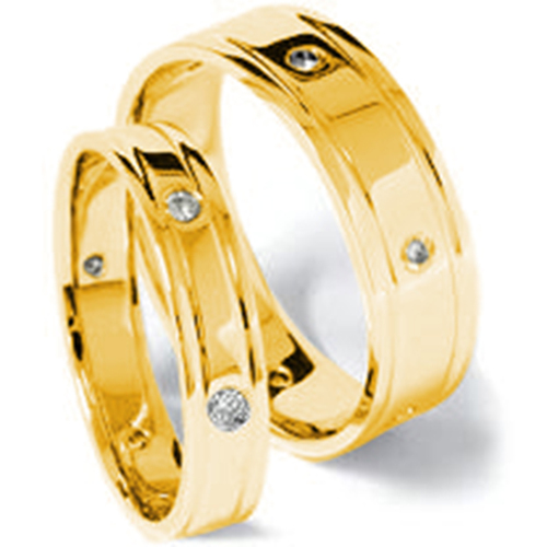 14K Gold Matching Diamond Wedding Band Set (G/H, SI)