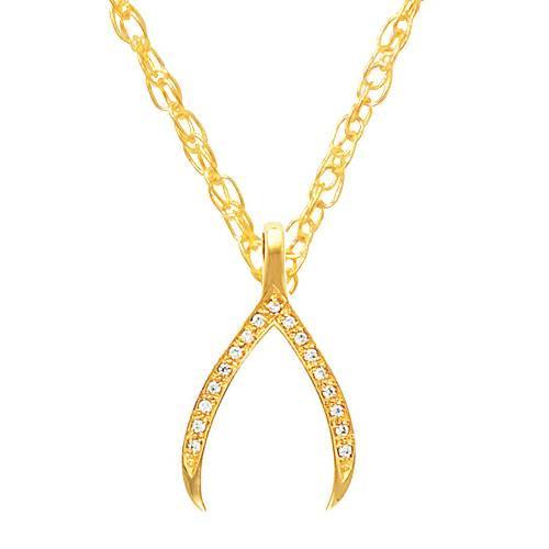 """1/5Ct Diamond Wishbone Pendant In 14K White & Yellow Gold 1"""" Tall"""