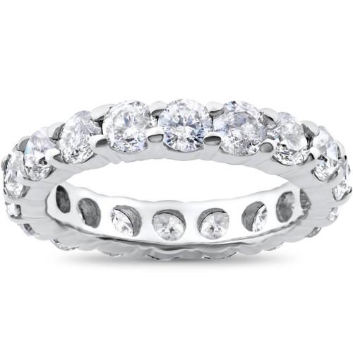 3ct Real Diamond Eternity Wedding White Gold Ring (G/H, I2-I3)