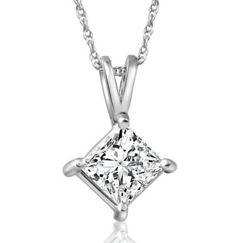 """1ct Princess Cut Enhanced Diamond Solitaire Pendant 14K White Gold & 18"""" Chain ((G-H), SI(1)-SI(2))"""