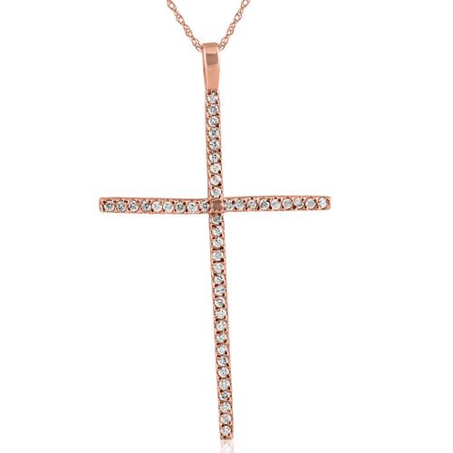 3/4ct Diamond Cross 14K Rose Gold (H/I, I2)