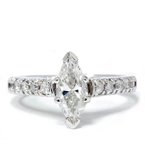 Marquise 1 1/5 Carat Enhanced Diamond Engagement Accent Ring 14K White Gold (G/H, I1)