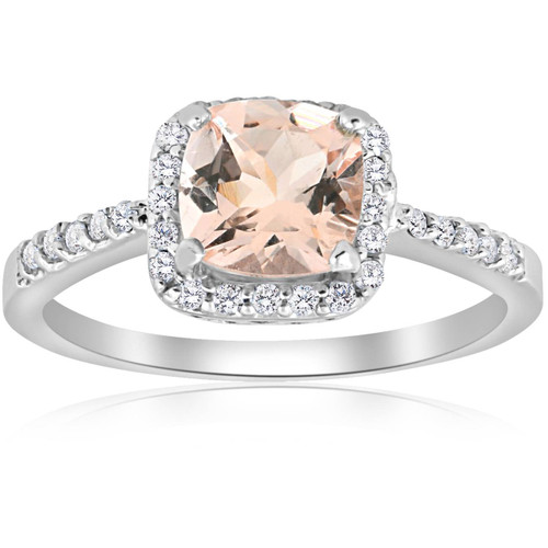 1 1/2ct Morganite Cushion Halo Diamond Engagement Ring 14K White Gold (J-K, I2-I3)