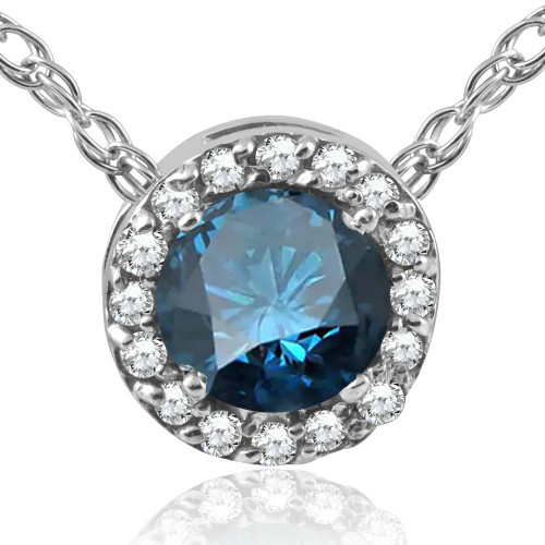 "3/8ct Blue & White Diamond Round Halo Pendant 10K White Gold W/ 18"" Chain (G/H, I2-I3)"