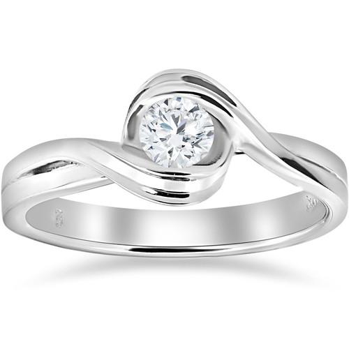 1/2 ct Solitaire Round Brilliant Cut Diamond Engagement Ring 14k White Gold (G/H, I1-I2)