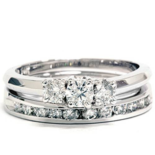 1ct Diamond Engagement Wedding Ring Set 3-Stone Channel Set Round Cut Solitaire (G/H, I1)