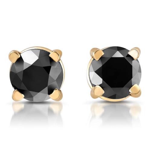 Yellow Gold 1/4ct Round Cut Black Diamond Studs (Black, AAA)