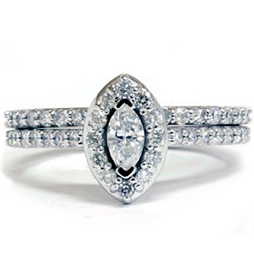 7/8ct Marquise Diamond Wedding Ring Set 14K Gold (G/H, I1-I2)