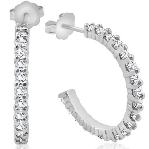 1 1/2ct Diamond Hoops 14K White Gold (G/H, I2)