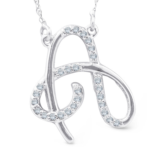 "1/4ct Diamond ""A"" Initial Pendant 18"" Necklace 14K White Gold (G/H, I2)"