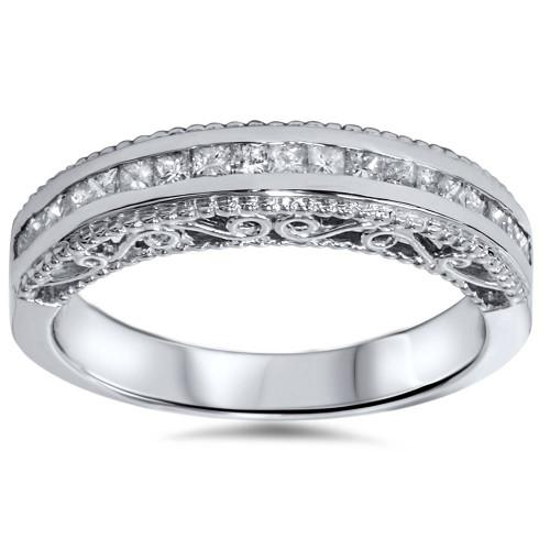 1/2ct Princess Cut Vintage 14K Diamond Anniversary Ring (H, I1)