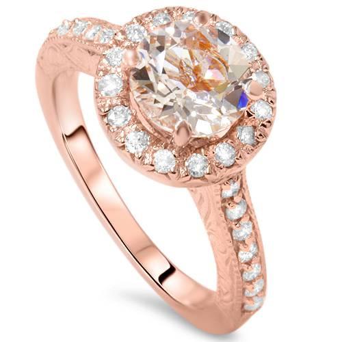 2 ct Vintage Morganite & Diamond Ring 14K Rose Gold (G/H, I1)