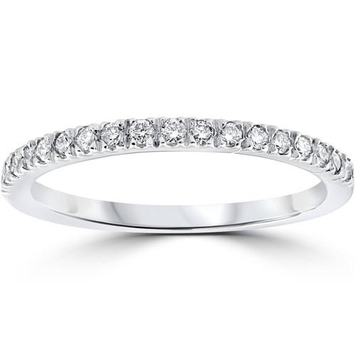 1/4ct Pave Lab Created Diamond Wedding Ring 14K White Gold (F, VS)