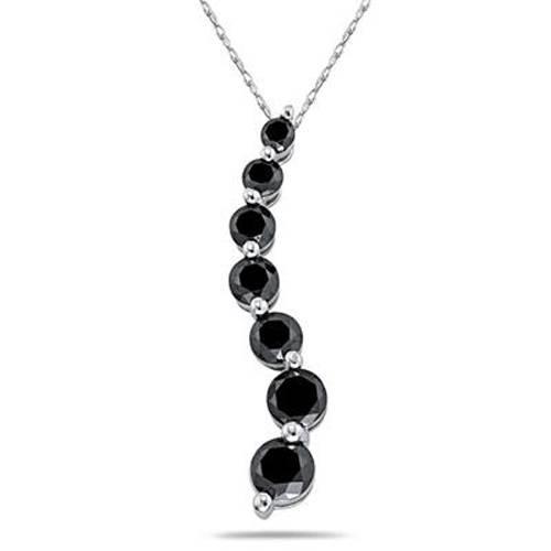 3ct Black Diamond Journey Pendant 14K White Gold (Black, AAA)