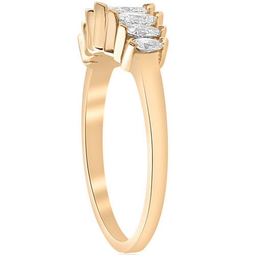 14k Yellow Gold 3/4ct Marquise Diamond Wedding Anniversary Ring Womens Band (G/H, SI)