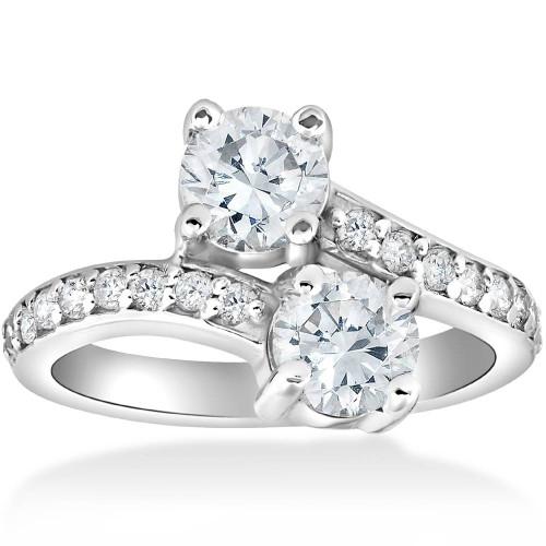 2 Carat Forever Us Two Stone Round Diamond Engagement Ring 14K White Gold (I/J, I1-I2)