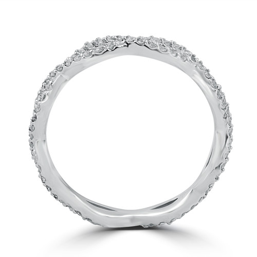 3/8 cttw Diamond Infinity Eternity Wedding Ring Stackable Band 14k White Gold (G/H, I1-I2)