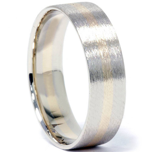 Brushed Two Tone Wedding Band 14K Gold