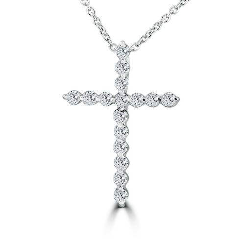 3/8ct Real Diamond Cross Pendant 14k White Gold Necklace (G/H, I2)