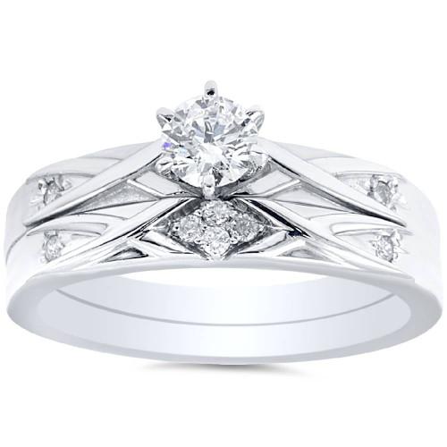 1/3ct Diamond Engagement Wedding Ring Set 14K White Gold (H/I, I1-I2)