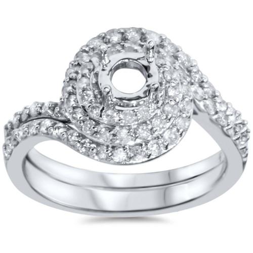 7/8ct Pave Double Halo Engagement Ring Setting & Matching Band 14K (H/I, I1-I2)