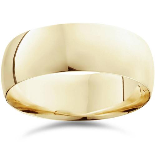 8mm Dome High Polished Wedding Band 14K Yellow Gold