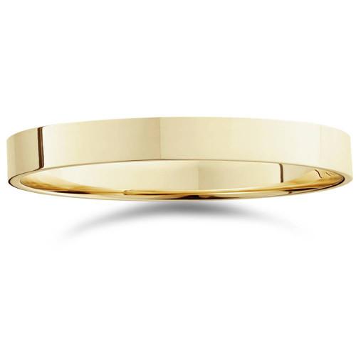3mm Flat High Polished Wedding Band 14K Yellow Gold