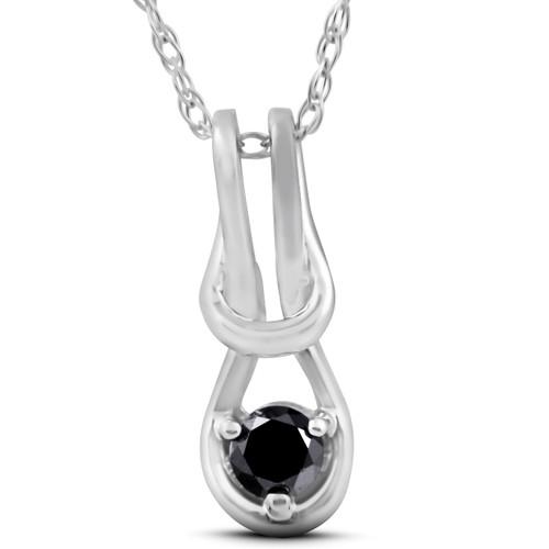 """Black Diamond Knot Petite Solitaire Pendant 10K White Gold 1/2"""" (G/H, I1)"""