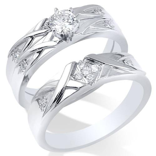 3/8ct Diamond Engagement Wedding Ring Set 14K White Gold (H/I, I1-I2)