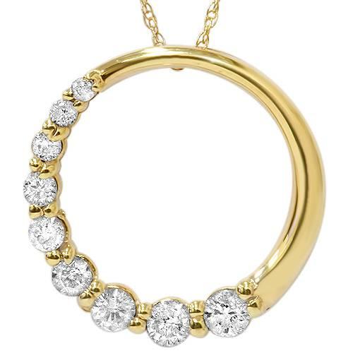 14K Yellow Gold 1/2ct Circle Journey Diamond Pendant (G/H, I1)