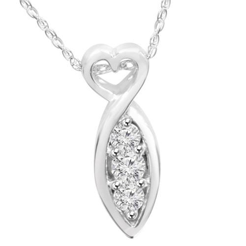 1/2ct Past Present Future 3Stone Diamond Pendant 14K White Gold (G/H, I1)