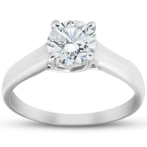 Solitaire Diamond Engagement Ring 1 Carat 14k White Gold Enhanced (H, I1)